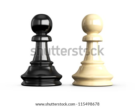 Confrontation of chess pieces pawns, isolated on white background. - stock photo