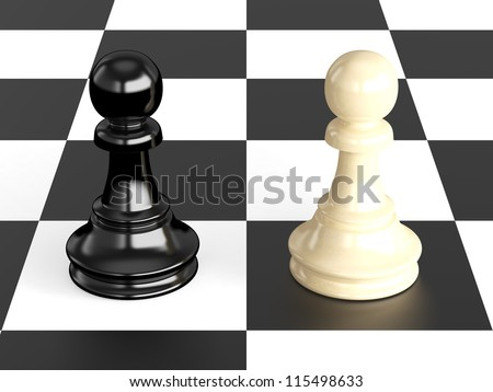 Confrontation of chess pieces pawns on board, isolated on white background.