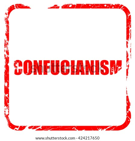 confucianism, red rubber stamp with grunge edges - stock photo