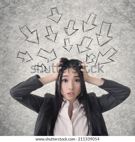 Confused Asian business woman. Photo compilation with hand drawn background. - stock photo
