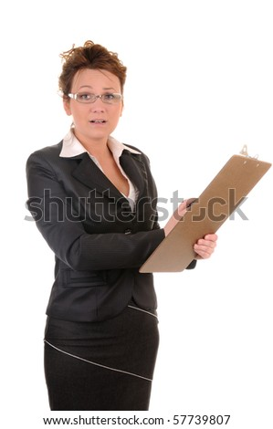 Confused business woman with documents isolated on white background - stock photo