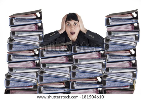 Confused business woman with files