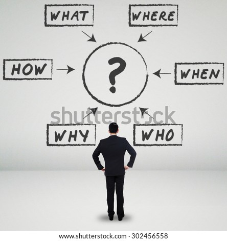 Confused businessman analyzing various questions on the wall - stock photo