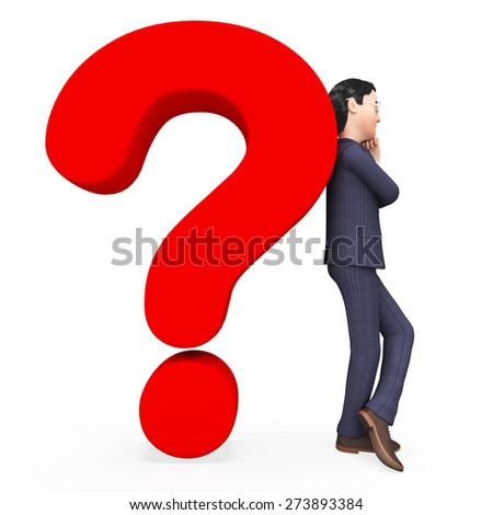 Confused Businessman Representing Frequently Asked Questions And Not Sure - stock photo