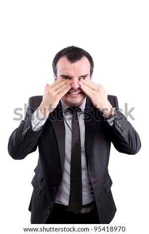 confused businessman rubbing his eyes, isolated on white - stock photo