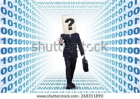 Confused businessman with cardboard head finding the way on the binary aisle - stock photo