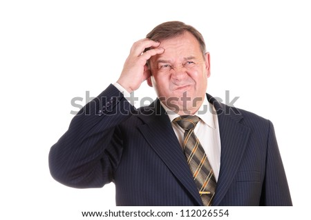 confused businessman with gesture on his face, isolated on white - stock photo