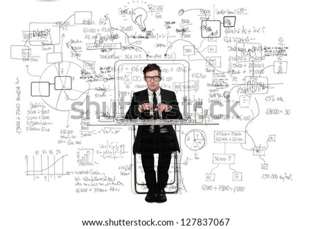 confused businessman working at desk