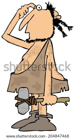 Confused caveman with a rock hammer - stock photo