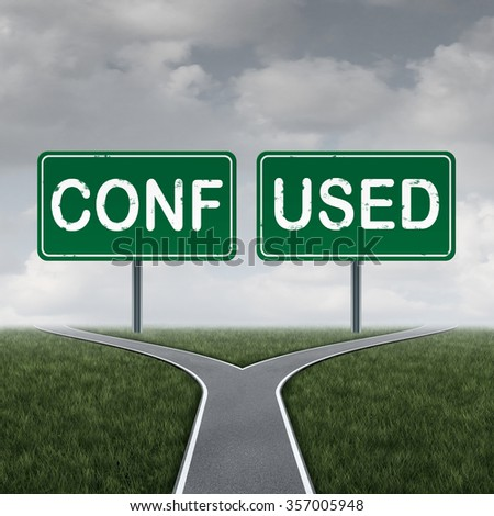 Confused cross road or crossroad choice concept and decision symbol as a metaphor for a dilemma pathway with two green highway signs with mixed direction text and advice.   - stock photo