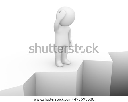 Confused 3d man standing on the brink of a precipice. Computer generated image.