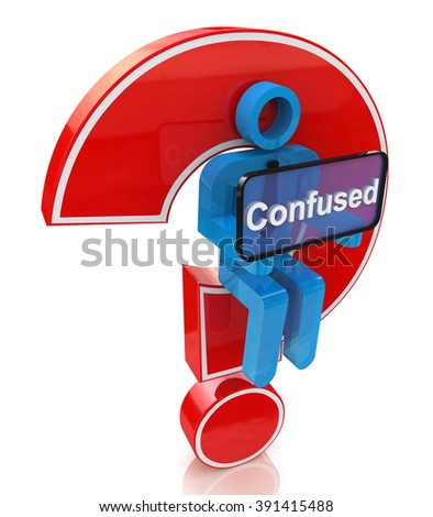 Confused. 3d man with red question mark over white background in the design of information related to internet - stock photo