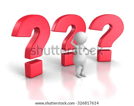 Confused 3d Person With Big Question Marks. 3d Render Illustration