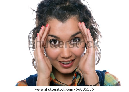 confused girl - stock photo