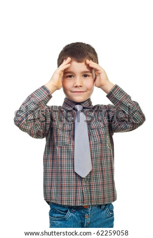 Confused kid boy holding hands to forehead isolated on white background - stock photo