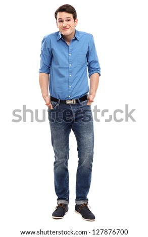 Confused looking man - stock photo