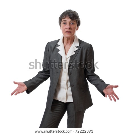 confused mature businesswoman with hands out isolated on white background