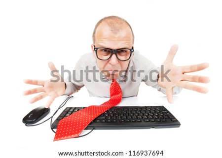 Confused nerd computer geek isolated on white background - stock photo