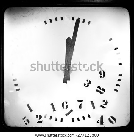 confused numbers in a classic round clock isolated on white background