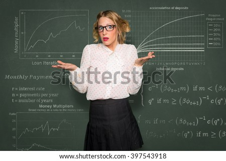 Confused overwhelmed woman struggling to understand finances stats loan payment investment accounting expenses - stock photo