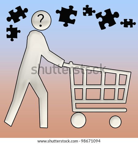 confused shopper pushing a shopping cart illustration - stock photo