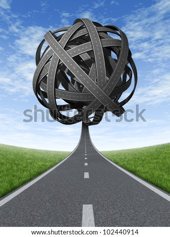 Confused solutions and strategy with goals and strategic journey choosing the right path for business with a straight path leading to a  ball of tangled roads and highways in a confused direction. - stock photo