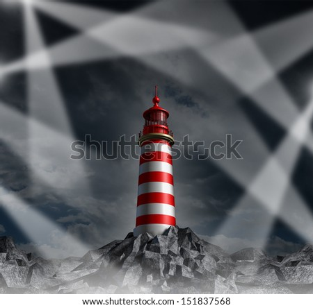 Confused strategy and lost guidance with multiple direction options as a concept of confusion in business and life as a group of shinning beams confusing a single dark and dim light house. - stock photo