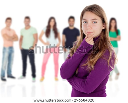 Confused teenager girl thinking with unfocused people of background - stock photo