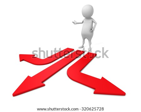 Confused White 3d Man Choice The Direction Arrow. 3d Render Illustration - stock photo