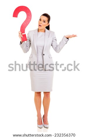 confused woman holding question mark on white background - stock photo