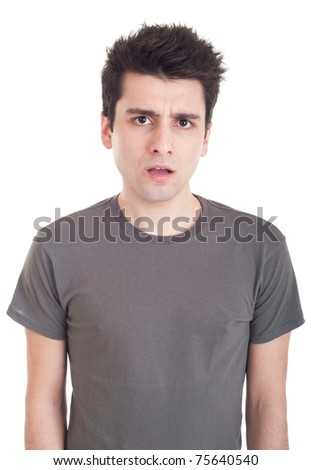 confused young casual man with what expression (isolated on white background)