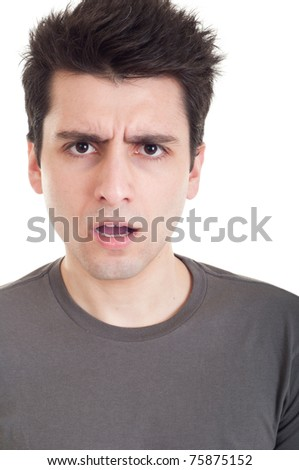 confused young casual man with what expression (isolated on white background) - stock photo