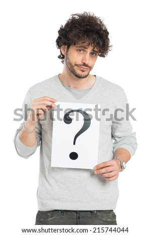 Confused Young Man Showing Question Mark Signboard Isolated On White Background - stock photo