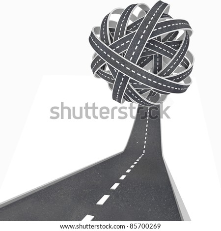 Confusing travel and transportation symbolized by an asphalt road rising upward into a tangled ball of pavement leading nowhere - stock photo
