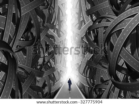 Confusion pathway concept as a businessman walking on a straight  glowing path through an opening of confused roads and highway streets as a symbol for guidance solution and consultation advice. - stock photo