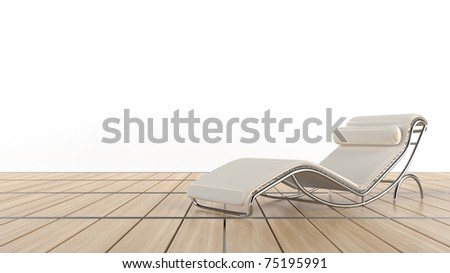 Confy chair on wooden floor - stock photo