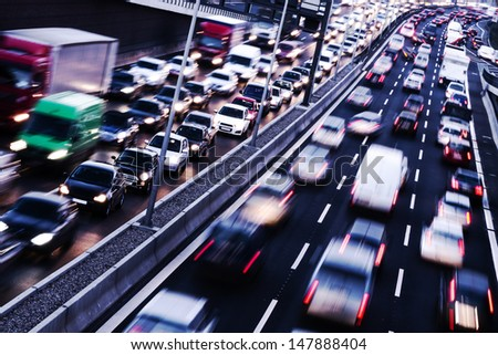 congestion on a higway on rush hour time - stock photo