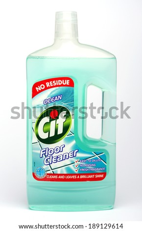 CONGLETON, UK - APRIL 25 2014: Bottle of Cif floor cleaner  - stock photo