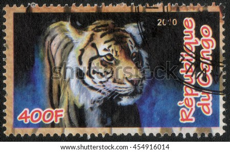 "CONGO - CIRCA 2010: A post stamp printed in Congo shows a series of images ""Animal world"", circa 2010 - stock photo"