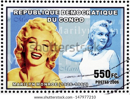 CONGO - CIRCA 2006: A postage stamp printed by CONGO shows image portrait of famous American actress, model and singer Marilyn Monroe (1926-1962), circa 2006. - stock photo