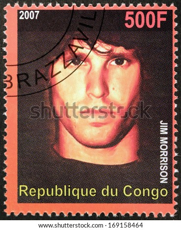 CONGO - CIRCA 2007: A postage stamp printed by CONGO shows image portrait of  famous American musician, composer, singer, songwriter and  poet  Jim Morrison, circa 2007. - stock photo