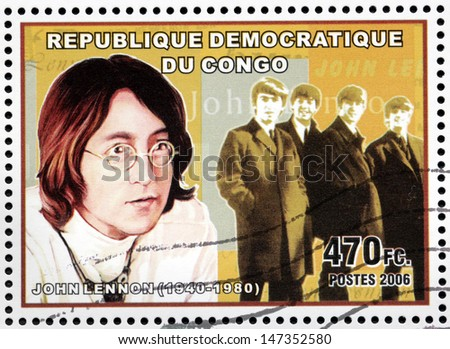 CONGO - CIRCA 2006: A postage stamp printed by CONGO shows image portrait of  famous English musician, composer, singer and songwriter John Lennon, circa 2006. - stock photo