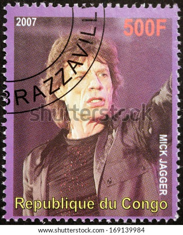 CONGO - CIRCA 2007: A postage stamp printed by CONGO shows image portrait of  famous English musician, composer, singer and songwriter Mick Jagger, circa 2007.