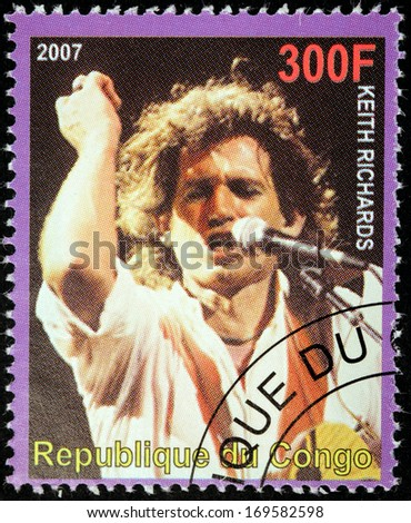 CONGO - CIRCA 2007: A postage stamp printed by CONGO shows image portrait of  famous English musician, composer, singer and songwriter Keith Richards, circa 2007. - stock photo