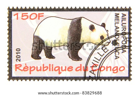 CONGO - CIRCA 2010: A stamp printed in Congo showing Giant Panda, circa 2010