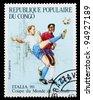 CONGO - CIRCA 1990 : A stamp printed in Congo shows football, circa 1990 - stock photo