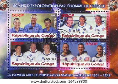 CONGO - CIRCA 2011: stamp printed by Congo, shows astronaut, circa 2011