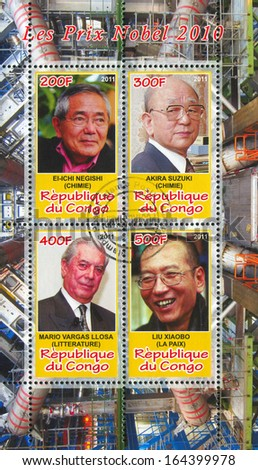 CONGO - CIRCA 2011: stamp printed by Congo, shows famous people, circa 2011 - stock photo