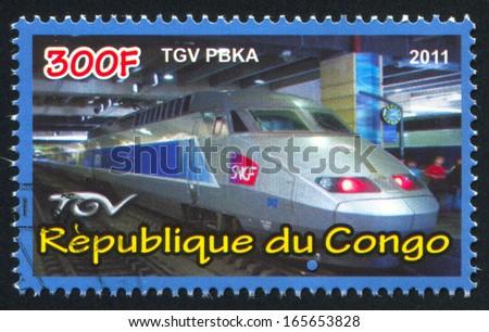 CONGO - CIRCA 2011: stamp printed by Congo, shows modern train, circa 2011 - stock photo