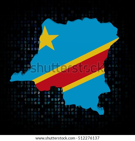 Congo Democratic Republic map flag on hex code 3d illustration